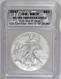 2007 $1 Silver Eagle MS70 ICG. First Day of Issue #4073 of 14,987. NGC Census: (0/0). PCGS Population (0/0). (#9997)...(...