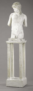 Furniture , A Plaster Figure of Greek Youth, Possibly Antinous, Favorite of Hadrian. . Plaster. 36 inches (91.4 cm). ...
