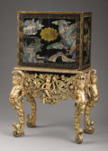 Furniture , A Chinese Coromandel Style Cabinet on Giltwood Stand. . The cabinet, Chinese. The stand, English. Late 19th Century. Lac...