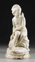 Marble, A Winged Seated Cupid. . E. DeCori, Italian. Marble.Signed E. DeCori . 23-1/2 inches high, 11 inches wide, 11...