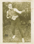 Boxing Collectibles:Autographs, Circa 1955 Tommy Burns Signed Photograph. A second generation photograph signed by Burns in black ink fountain pen. Size: 8 ...