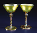 Art Glass:Tiffany , A Pair of American Art Glass Wine Goblets. Tiffany Studios, NewYork, New York. Circa 1900. Favrile glass. Marks: LCT, T...(Total: 2 Items)