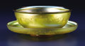 Art Glass:Tiffany , An American Art Glass Finger Bowl with Underplate. Tiffany Studios,Corona, New York. Circa 1900. Favrile glass. Marks: ... (Total:2 Items)