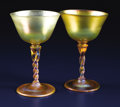 Art Glass:Tiffany , A Pair of American Art Glass Wine Goblets. Tiffany Studios, NewYork, New York. Circa 1900. Favrile glass. Marks: LCT . ...(Total: 2 Items)