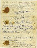 Boxing Collectibles:Autographs, 1960's Rocky Marciano Handwritten Signed Letter. Two-page letter,purportedly written to Marciano's mistress, is penned upo...