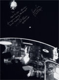 Autographs:Celebrities, Apollo 13 Large Photo of Damaged Service Module Signed by FredHaise and James Lovell....