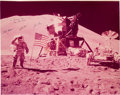 Autographs:Celebrities, Apollo 15 Crew-Signed Large Lunar Surface Color Photo. ...