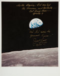 """Autographs:Celebrities, Apollo 8 """"Earthrise"""" Color Photo Signed by Frank Borman and JamesLovell Who Have Added Bible Verses. ..."""
