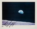 """Autographs:Celebrities, Bill Anders Signed Apollo 8 """"Earthrise"""" Large Color Photo. ..."""