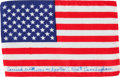 Explorers:Space Exploration, Apollo 7 Flown American Flag Directly from the Personal Collection of Mission Lunar Module Pilot Walt Cunningham, Signed and C... (Total: 2 Items)