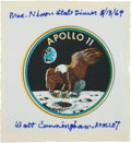 Explorers:Space Exploration, Apollo 11 Beta Cloth from President' Nixon's 1969 State Dinner,Presented to and Directly from the Personal Collection of Astr...(Total: 3 Items)