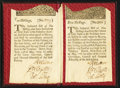 Colonial Notes:New York, New York May 31, 1709 5s and 10s Enclosed in Custom Made Early Leather Holder.. ...