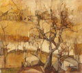 Fine Art - Painting, Russian, WENDY ROSSELLI (South African, 20th Century). Small YellowLandscape. Oil on canvas. 12-1/2 x 14-1/8 inches (31.8 x35.9...