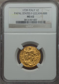 Italy:Papal States, Italy: Papal States. Clement XII gold Zecchino 1739 MS62 NGC,...