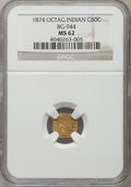 California Fractional Gold: , 1874 50C Indian Octagonal 50 Cents, BG-944, R.5, MS62 NGC. NGCCensus: (1/1). PCGS Population (7/21). ...