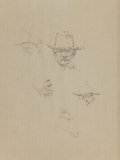 Fine Art - Work on Paper:Drawing, OLAF WIEGHORST (American, 1899-1988). Sheet of Studies (Four Menand a Horse). Felt-tip pen on paper. 13-3/4 x 10-1/4 in...