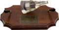 Explorers:Space Exploration, Gemini 8 Flown Heat Shield Section in Acrylic Space Capsule on Wooden Pen Set Base. ...