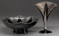 Silver Holloware, American:Vases, A ROCKWELL SILVER COMPANY SILVER OVERLAY GLASS BOWL AND FAN VASE,Meriden, Connecticut, 20th century. Marks: R.S.Co., STER...(Total: 2 Items)