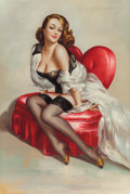 Pin-up and Glamour Art, AMERICAN ARTIST (20th Century). Pin-Up on Heart-ShapedChair. Oil on canvas. 36 x 24 in.. Signed indistinctly lowerrigh...