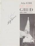 Explorers:Space Exploration, Gordon Cooper and Shorty Powers Signed Atlas ICBM Fact Sheet. ...