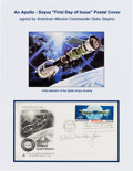 Explorers:Space Exploration, Apollo-Soyuz Test Project Deke Slayton-Signed Launch Date / FirstDay Cover. ...
