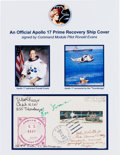 Explorers:Space Exploration, Apollo 17 Ron Evans-Signed Prime Recovery Ship Cover, also Signedby the Commanding Officer, Helicopter Recovery Pilot, and Ot...