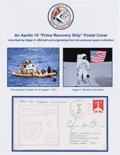 Explorers:Space Exploration, Apollo 15 Edgar Mitchell-Signed Prime Recovery Ship CoverOriginally from His Personal Collection....