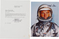 Autographs:Celebrities, John Glenn Signed Silver Spacesuit Color Photo and Typed LetterSigned.... (Total: 2 Items)