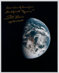 Autographs:Celebrities, Fred Haise Signed Apollo 13 Color Photo of Earth....