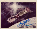 Autographs:Celebrities, Apollo-Soyuz Test Project Original NASA Color Photo Signed byStafford and Brand. ...