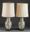 Asian:Chinese, A PAIR OF CHINESE ROSE MEDALLION PORCELAIN VASES MOUNTED AS LAMPS,early 20th century. 31-1/2 inches high (80.0 cm) (includi...(Total: 4 Items)