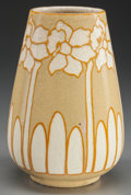 Ceramics & Porcelain, American:Modern  (1900 1949)  , NEWCOMB COLLEGE HIGH GLAZED POTTERY DAFFODILS VASE, Potted byJoseph Meyers, Decorated by Hattie Joor, New Orleans, LA , cir...