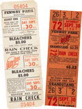 Baseball Collectibles:Tickets, 1967 Carl Yastrzemski Clinches the Triple Crown Full Tickets Lot of2. ...