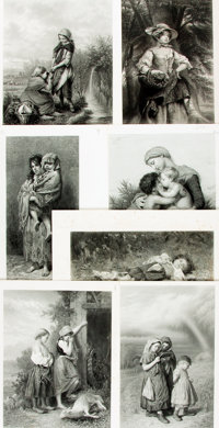 [Portrait]. Group of Seven Black and White Engravings of Women and Children. Various publishers and dates