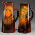 Ceramics & Porcelain, American:Modern  (1900 1949)  , TWO WELLER GLAZED POTTERY LOUWELSA TALL PITCHERS, Decorated by LeviBurgess and Anthony Dunlevy, Zanesville, Ohio, circa 189... (Total:2 Items)