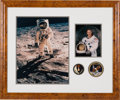 "Autographs:Celebrities, Buzz Aldrin Signed Large Apollo 11 ""Visor"" Photo and WhiteSpacesuit Color Photos in a Framed Display with Gemini 12 andApoll..."
