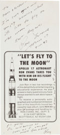 "Autographs:Celebrities, Ron Evans Autograph Note Signed on ""Let's Fly to the Moon"" Flyer.... (Total: 3 Items)"