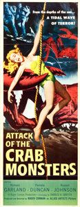 """Movie Posters:Science Fiction, Attack of the Crab Monsters (Allied Artists, 1957). Insert (14"""" X36"""").. ..."""
