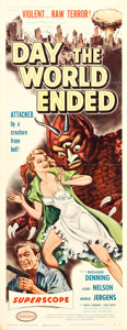 "Movie Posters:Science Fiction, Day the World Ended (American Releasing Corp., 1956). Insert (14"" X36""). Science Fiction.. ..."