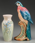 Ceramics & Porcelain, American:Modern  (1900 1949)  , A WELLER POTTERY PARROT AND A VASE, Zanesville, Ohio, circa 1900.Marks to vase: WELLER WARE, WELLER (impressed), II. ...(Total: 2 Items)