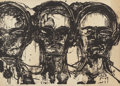 Fine Art - Painting, European, LESTER F. JOHNSON (American, 1919-2010). Three Heads,Frontal, 1965. Lithograph on Arches paper. 22-1/4 x 30 inches(56....