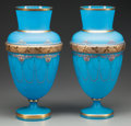 Art Glass:Other , A PAIR OF FRENCH BLUE ENAMELED GLASS VASES, circa 1900. 12-1/2 inches high (31.8 cm). PROPERTY FROM THE ESTATE OF FRED D. ... (Total: 2 Items)