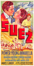 "Movie Posters:Romance, Suez (20th Century Fox, 1938). Three Sheet (40.5"" X 79"") Style A.. ..."