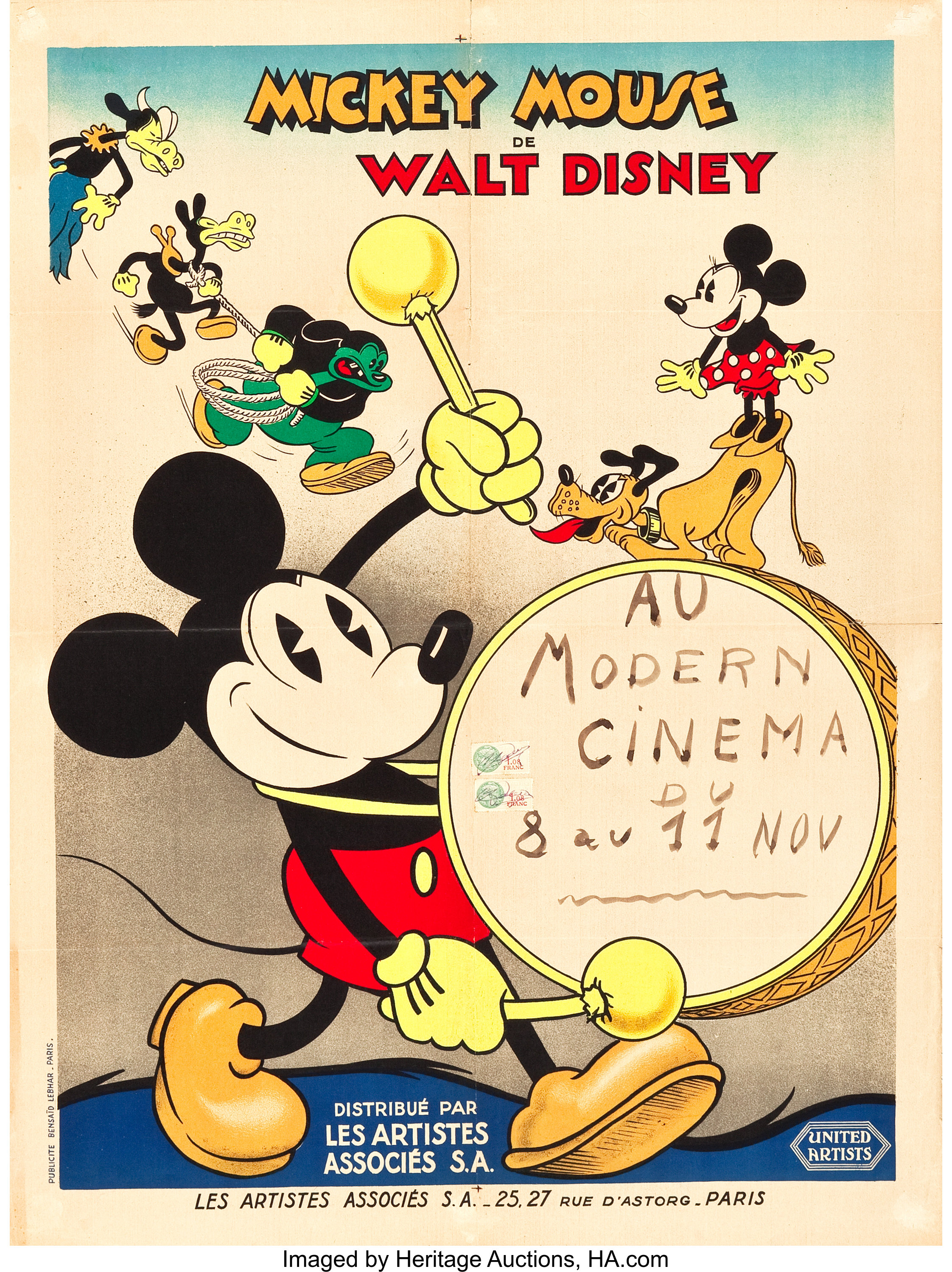 Mickey Mouse Stock Poster United Artists 1933 French Affiche Lot 87287 Heritage Auctions