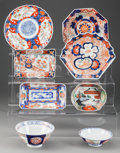 Asian:Japanese, A GROUP OF EIGHT JAPANESE IMARI SERVING DISHES AND BOWLS, mid 19thcentury/20th century. Marks to large bowl: (one-character...(Total: 8 Items)