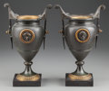 Paintings, A SMALL PAIR OF NEOCLASSICAL SPETLER AND MARBLE URNS WITH LINERS, 20th century. 10 inches high (25.4 cm). PROPERTY FROM TH... (Total: 2 Items)