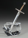 Art Glass:Steuben, A STEUBEN SILVER AND 18K GOLD LETTER OPENER WITH GLASS PAPERWEIGHTBASE: EXCALIBUR, Designed by James Houston, C... (Total: 2Items)