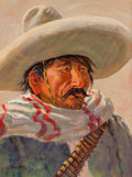 Fine Art - Painting, American:Modern  (1900 1949)  , JOE BEELER (American, 1931-2006). Bandido. Oil on canvas. 16x 12 inches (40.6 x 30.5 cm). Signed lower left: Joe Beel...