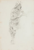 Fine Art - Work on Paper:Drawing, FERNAND LUNGREN (American, 1859-1932). Dancing Indian.Pencil on paper. 16-1/2 x 11-1/4 inches (41.9 x 28.6 cm) (sight)...