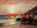 Fine Art - Painting, European, RICHARD DEY DE RIBCOWSKY (Bulgarian/American, 1880-1936). SunsetLighthouse. Oil on canvas. 30-1/4 x 40-1/4 inches (76.8...